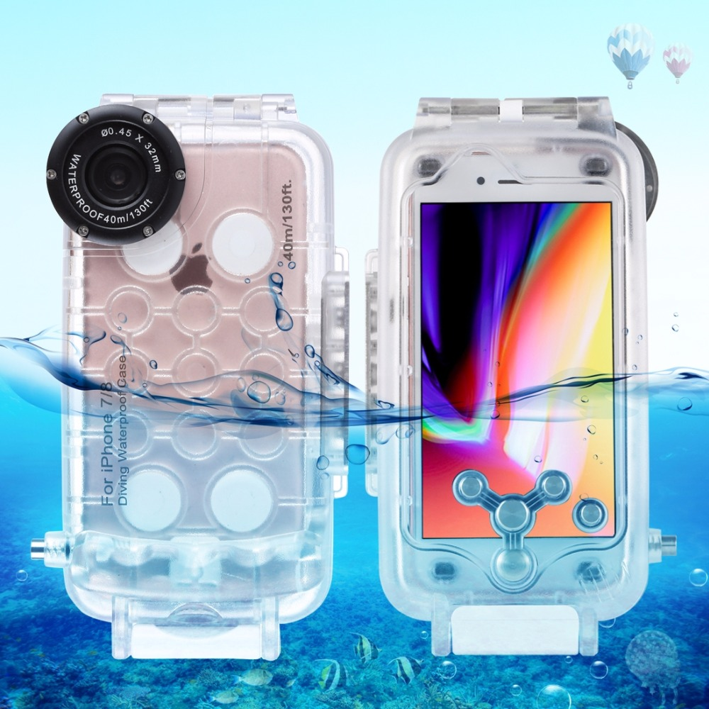 For iPhone 7 & 8 Waterproof Diving Housing Cover Case PC ABS Bag 40m/130ft Underwater Housing Case Snorkeling Surfing Swimming