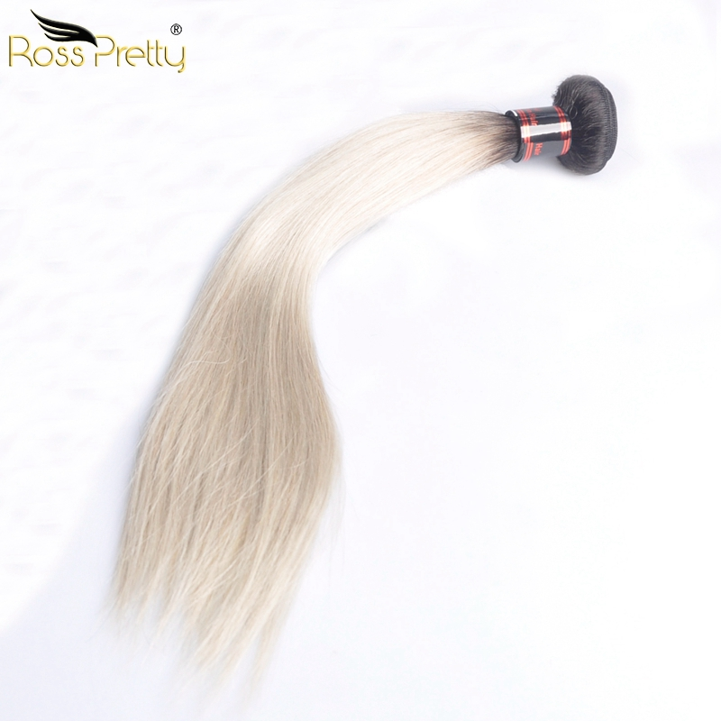 Ross Pretty Ombre Color 1b Grey Brazilian Hair Straight Human Hair Extension lengths 10-28Inch Brazilian Remy Hair Weave sale
