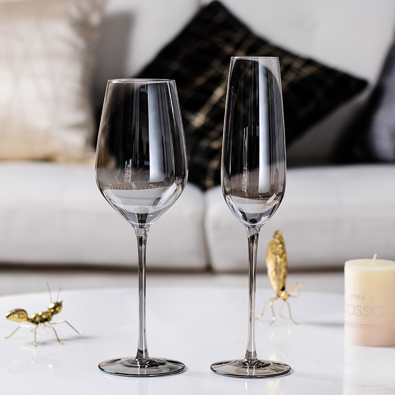 22b4a15ed122 Creative wine glass Cup gray Goblet Champagne glasses wedding flutes glass  cups crystal wine glasses party
