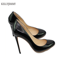 Kellyjimmy мода круглый носок на высоком каблуке шпильке 4,7 дюйма черный из лакированной искусственной кожи простые базовые Модельные туфли для