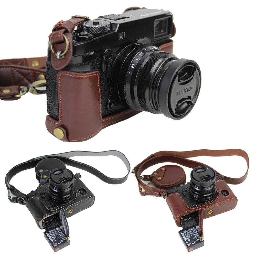新しい本革cameracase半分バッグ用富士フイルムx pro2 xproマーク2 xpro 2ハーフケース+ヴィンテージストラップ  グループ上の 家電製品 からの カメラ / ビデオ バッグ の中 1