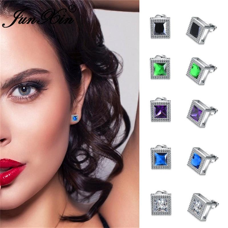JUNXIN Vintage Square Stud Earrings For Women Silver Color AAA Zircon Rainbow Birthstone White/Purple Earrings