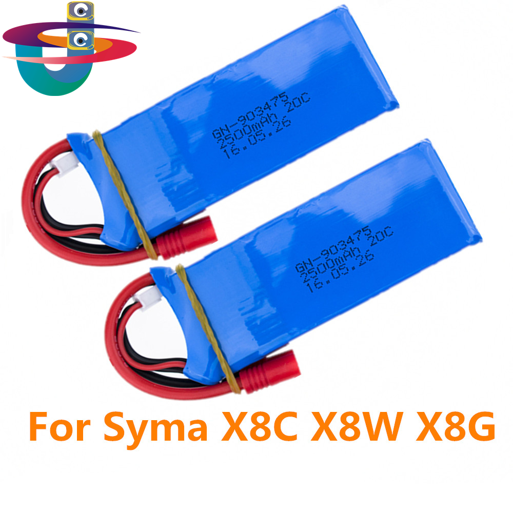 2pcs 7.4V 2500mAh Li-Po Battery for SYMA X8 X8C X8W X8G BANANA plug RC Drone Quadcopter Spear Parts Remote Control Toy spark storage bag portable carrying case storage box for spark drone accessories can put remote control battery and other parts