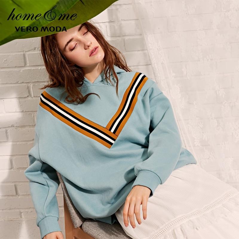 Vero moda das Mulheres Spring & Summer V Decote Splice Hoodies Padrão Knit Top Camisola | 3184R3504