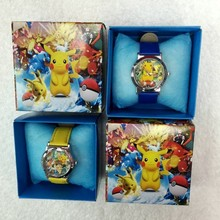 [TOOL] 2017 New Cute Japanese Anime Cartoon  Pikachu Pokemon Watch for Children With Gift Box  For Birthday #0002(China)