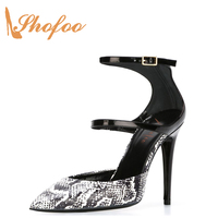Women Grey Snakeskin Pleather Point Toe Double Strap High Heels Pumps Dress&casual&Party Size 33 Shoes