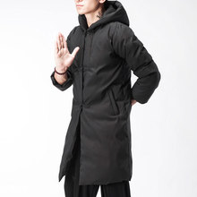 Men Chinese Style Winter Long Hooded Parkas Coat Male Thick Cotton Padded Coat Windproof Casual Outerwear