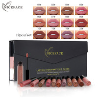 NiceFace Brand 12pcs Set Professiona Long Lasting Nude Matte Lip Gloss Waterproof Liquid Makeup Kit Pigments