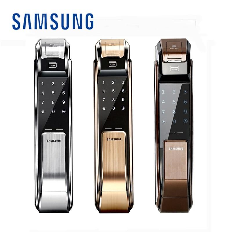 Samsung impressão digital fechadura da porta push pull keyless impressão digital SHS-P718 versão inglês grande mortise aml320