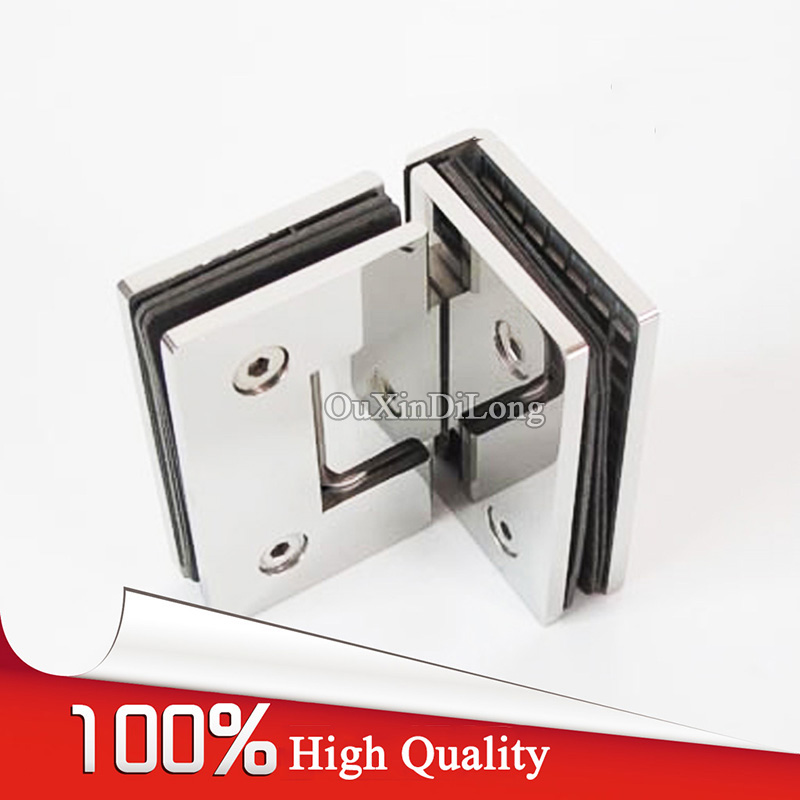 High Quality 2PCS 304 Stainless Steel Frameless Shower Glass Door Hinges Glass to Glass Fixed Clamps Pivot Hinge Holder Brackets 2pcs wall to glass door hinge stainless steel cabinet glass hinges clamp fit 8 10mm glass door pivot hinge clamps for shower