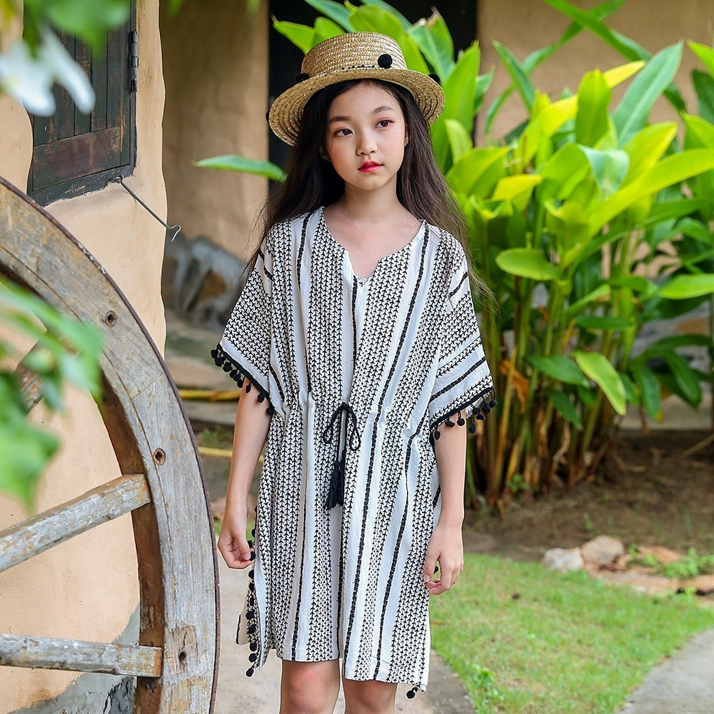 Summer Holiday Girl Dress Cotton Linen Knee Length Baby Kids Black White Dresses For Girls 2018 Loose Teenagers Princess Dress
