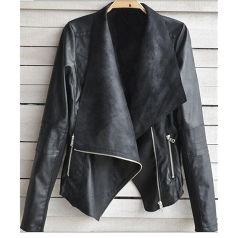 S-4XL New Winter Large Size Women   Leather   Coats Moto&biker Cool Zippers   Leather   Jacket Big Size Female PU   leather   Outerwear J733