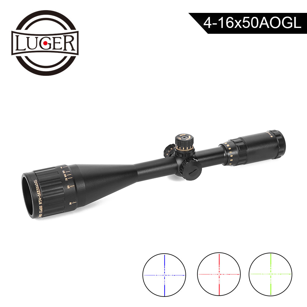 LUGER NT 4-16X50AOGL Hunting Scope Golden Maken Tactical Optical Sight Glass Etched Reticle RGB Illuminated Rifle Scope LUGER NT 4-16X50AOGL Hunting Scope Golden Maken Tactical Optical Sight Glass Etched Reticle RGB Illuminated Rifle Scope