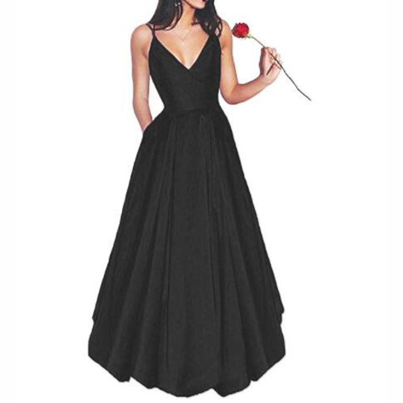 Berylove Simple Black Satin Evening Dresses 2018 Spaghetti Straps