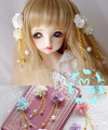 4 Color BJD Wig Accessories 1/3 1/4 SD17 Dollfie EID MID DOD AOD Eva with hair Flowers Magnet Tire Prop Purple Pink Beige Blue