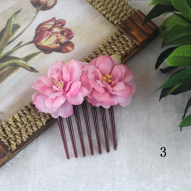 Double Silk Rose Flower Hair Comb