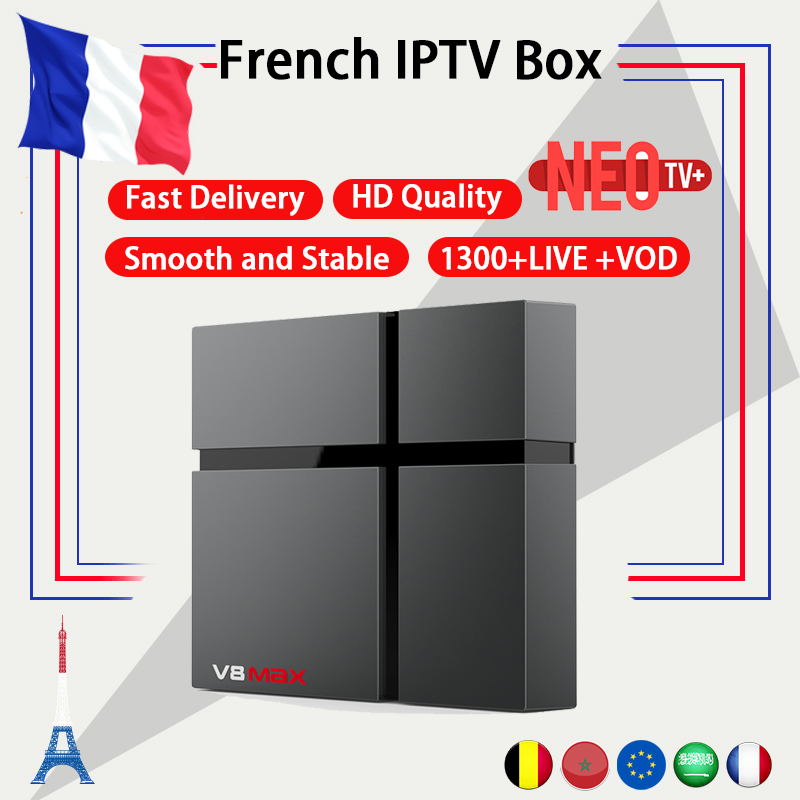 French wechip V8 MAX android tv box android 8 1 NEO iptv subscription 1300 live vod