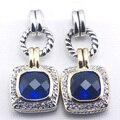 Nova Mulher 925 Sterling Silver Brincos De Cristal Azul Safira Simulada TE385