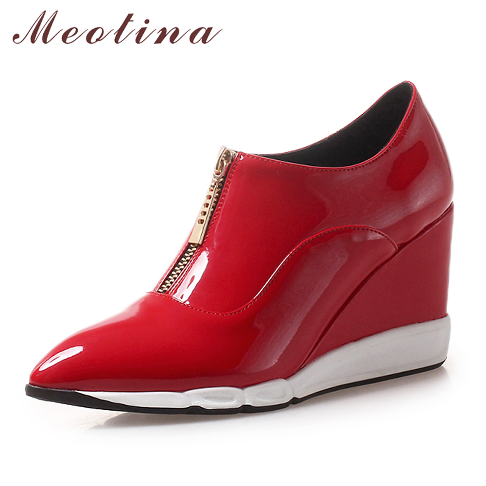 Meotina High Heels Pumps Women Patent Leather Wedge High Heels Shoes Zipper Pointed Toe Lady Shoes Spring Footwear Red Size 4-9Meotina High Heels Pumps Women Patent Leather Wedge High Heels Shoes Zipper Pointed Toe Lady Shoes Spring Footwear Red Size 4-9
