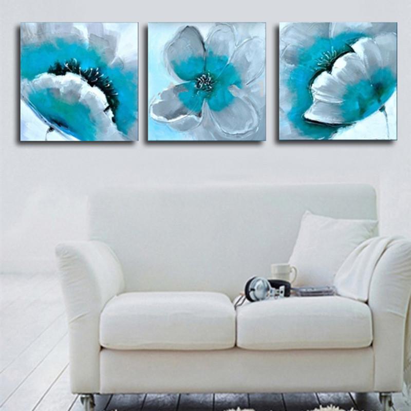 Hand Painted Turquoise Flower Oil Painting On Canvas Abstract Wall Art 3 Panel Pictures Sets Acrylic