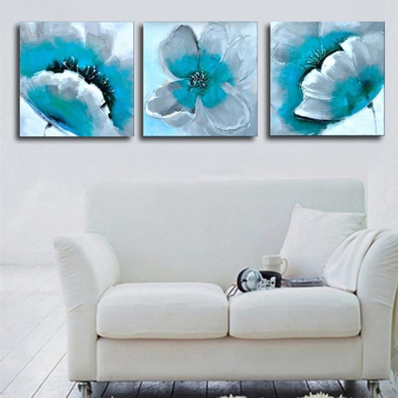 Peint à la main Turquoise fleur peinture à l'huile sur toile abstraite mur Art 3 panneau photos ensembles acrylique Floral peintures 3 pièce-in Peinture et calligraphie from Maison & Animalerie    1