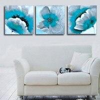 Pintado À mão Pintura A Óleo Sobre Tela Abstrato Da Flor Turquesa Conjuntos de Arte Da Parede 3 Painel de Fotos Acrílico Pinturas Florais 3 Peça