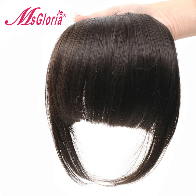 Brazilian Remy Straight 100% Human Hair Bangs For Women Clip In Fringe Hair Extension 6 Inch Natural Black Free Shipping 1