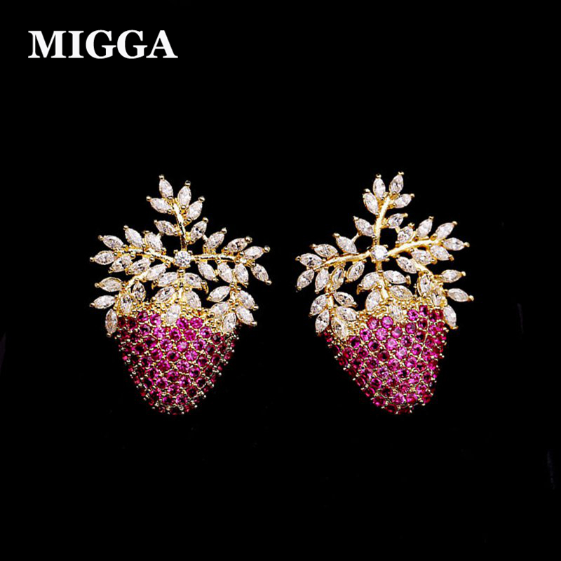 MIGGA High Quality Cubic Zircon Fruit Strawberry Stud Earrings Gold Color CZ Crystal Earrings for Women летние шины yokohama 225 55 r18 98v bluearth a ae50