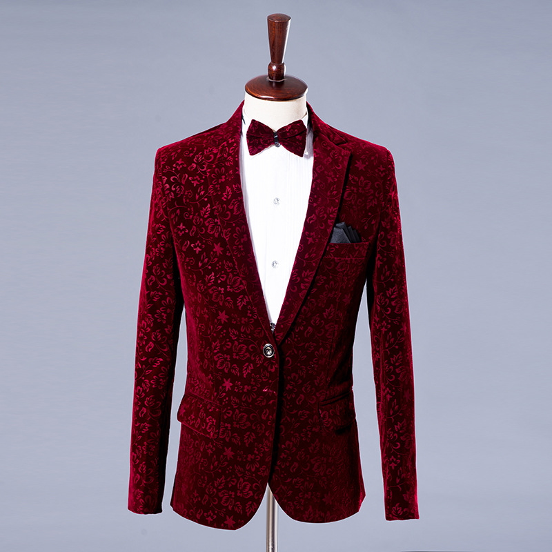 2020 New Men's Suits Printed Velvet Masters Grooms Wedding Suits Jackets And Pants Plus Bow Tie