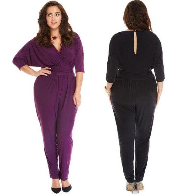 43d881ec7d1 Summer Plus Size Women Bodysuit Fashion Half Sleeve Casual Jumpsuit For  Women Sexy Deep V Neck