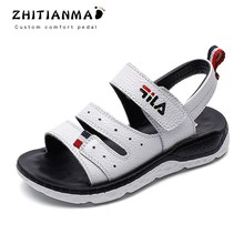 f48a433a4bd23 2019 ビッグ男の子ビーチ本革サンダルキッズ夏の靴子供のノンスリップ靴ボーイズ学生スポーツの靴フラットと 19025