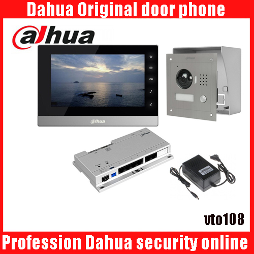 Mutil-language Dahua DH-VTH1510CH Color Monitor with VTO2000A outdoor IP camera Video Intercom system with VTO108 box ...