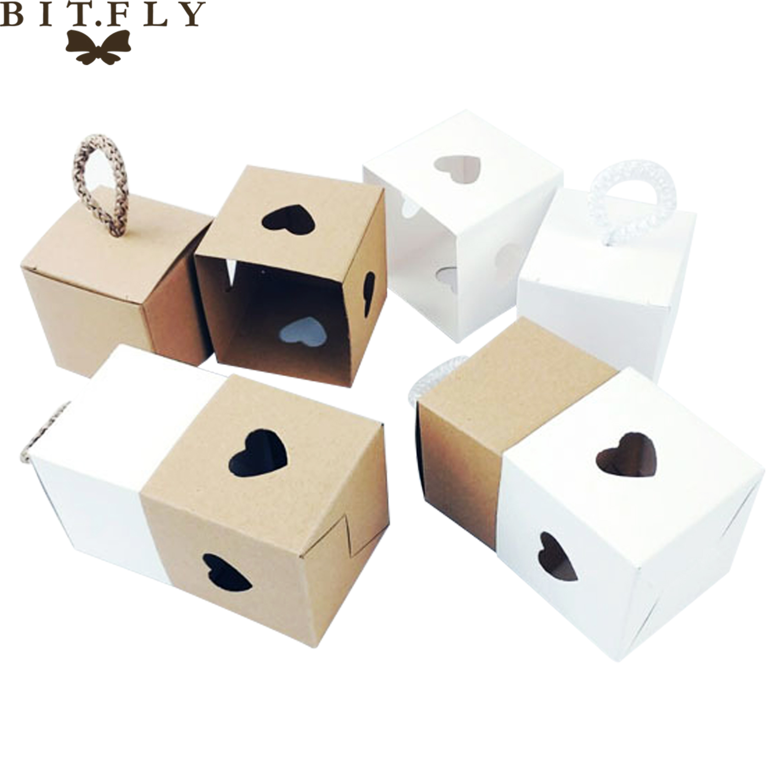 10pcs Vintage Paper Love Heart Candy Box With Rope Chocolate Gift Box For DIY Guests Baby Shower Wedding Festival Party Supply