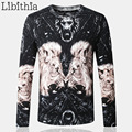 Men Thin Cotton Knitwear Sweater Autumn Winter Lion Print Pullover O-Neck Casual Style Pullovers Size 4XL Slim Clothes Male K115