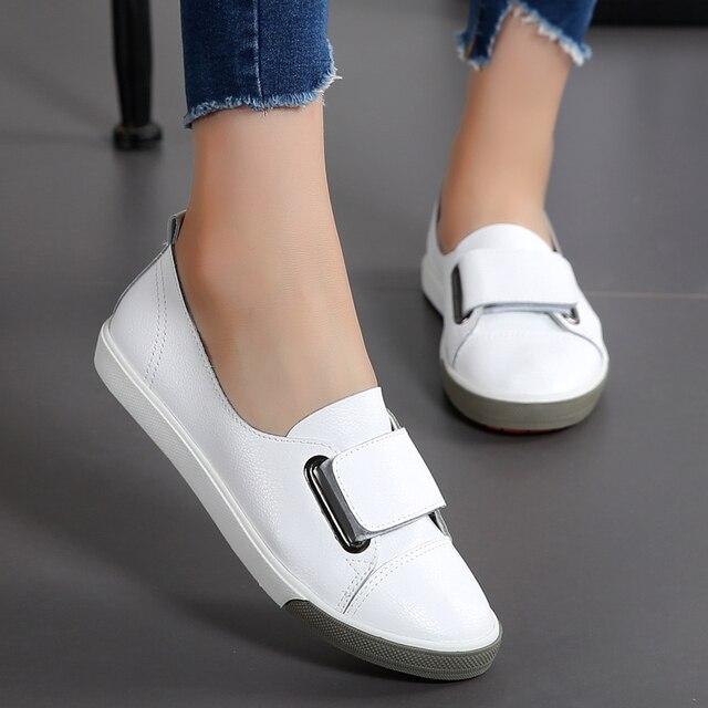 7ad032eae854 Женская модная повседневная обувь из искусственной кожи на платформе, удобная  женская обувь на плоской подошве