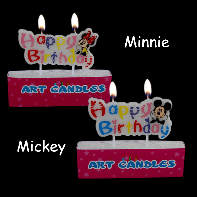 Kids Birthday Candles Mickey Minnie Creative Baking Toppers Decoration Happy Birthday Candle for Theme Party Celebration F0602