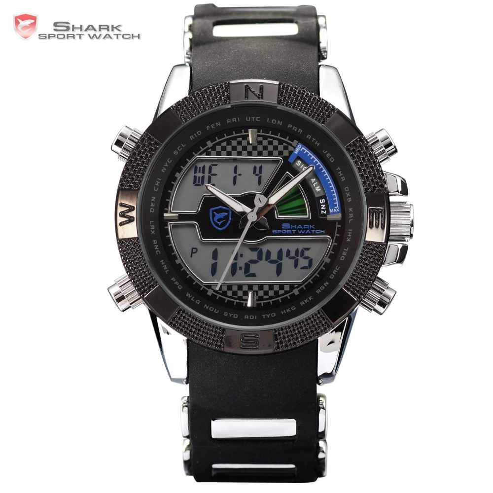 Porbeagle SHARK Sport Watch Relogio LCD Auto Date Alarm Silicone Band Chronograph Dual Time Men Quartz Digital Wristwatch /SH180 skm relogio 30 lcd 0002