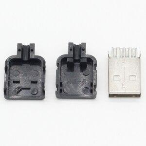 10 комплектов DIY USB 2,0 коннектор штекер типа A 4 Pin в сборе адаптер гнездо припоя Тип Черный Пластиковый корпус для подключения данных