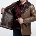 Free shipping Male winter plus size genuine leather velvet leather coat outerwear Turn-down Collar collar thermal Suede 4xl-8XL