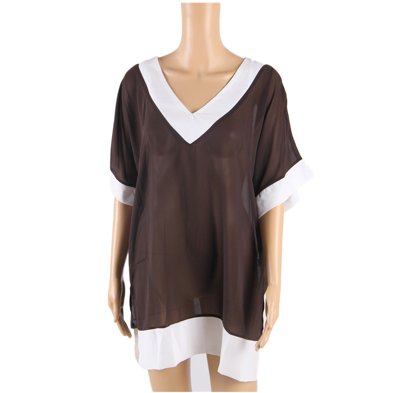 e74dff8a45 BV242 Brown and white fashion beach clothes deep v neck sexy swimsuit cover  ups women free shipping Ohyeah beach wear dress on Aliexpress.com | Alibaba  ...