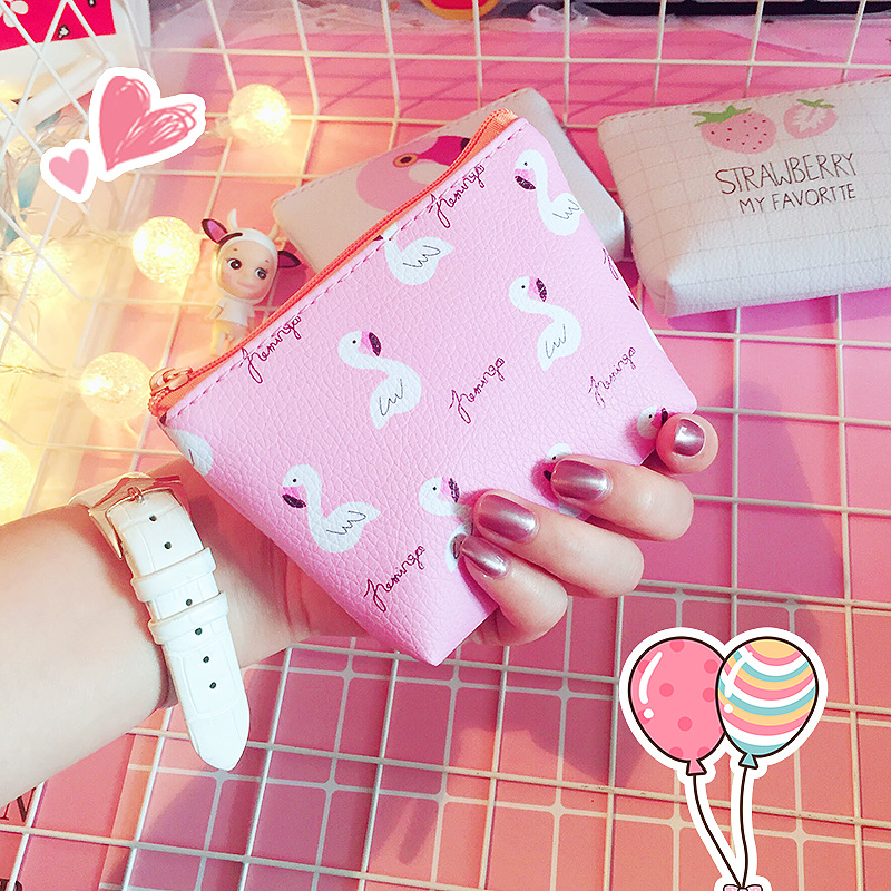 Cute Cartoon Students Coin Purse PU Zipper Mini Purses for Women Girls Small Key Change Wallets Flamingo Coins Pouch Purses new cute women coin purses small money purse brand designer zipper cartoon pu leather square female mini bags girls