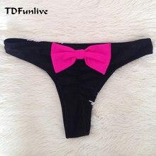 4950ddaed22b TDFunlive brasiliano tanga bikini costumi da bagno delle donne fiocco nero  perizoma bikini bottom sexy biquini