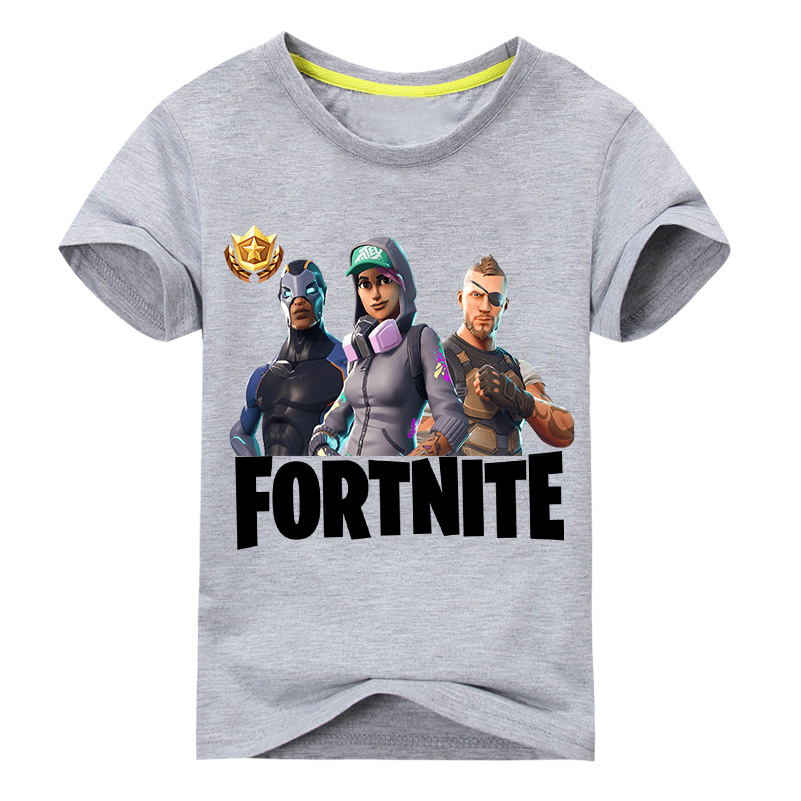 New Arrivals Children Hot Fortnite Print T-shirt For Kids Summer Tee Tops Costume Boy O-Neck Design T Shirt Girl Clothing DX056 retail design children clothing set for kids girl dark blue cardigan t shirt pink skirt high quality 2014 new free shipping