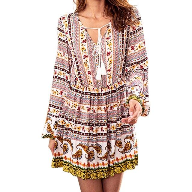 Autumn dress for women New Women Vintage Print Drawstring V-neck Long-sleeved High Waist Long Dress dropshipping