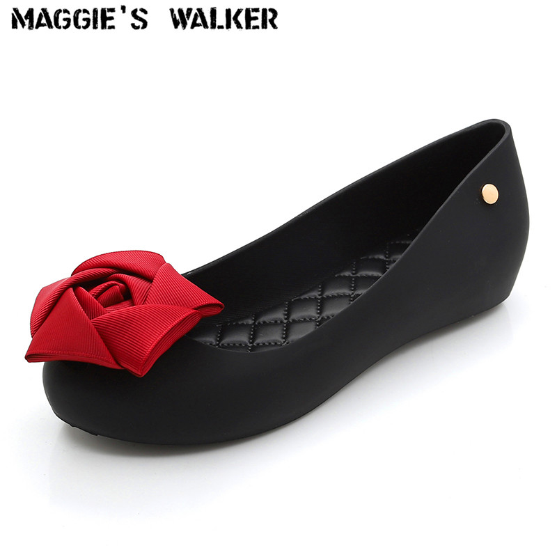 Maggie's Walker Beach Shoes Women Jelly Sandals Summer Fashion Candy-colored Resin Waterproof Wedges with Bows Size 35~40