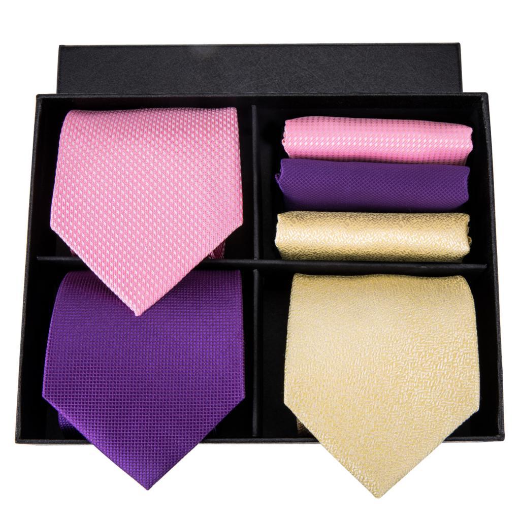 Hi Tie Designer Brand 100% Silk Made Necktie Pocket Square Cufflinks Set Solid Pattern Tie For Men Box Set For Gift