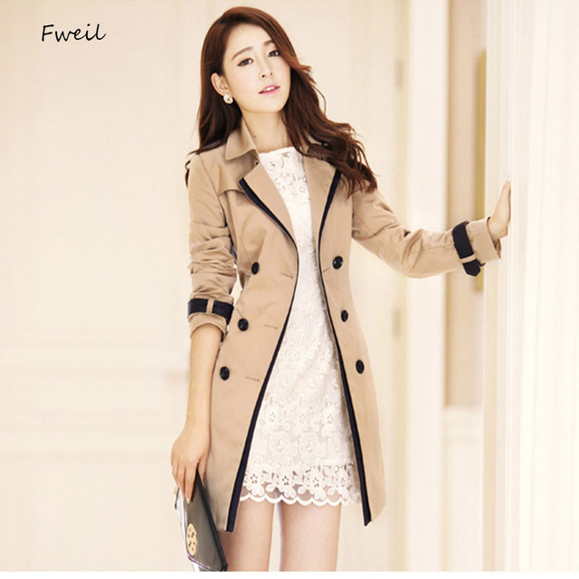 5df57962885 2017 New Real Cotton Trench Coat For Women Burderry Women Trench Coats Long  Sleeve Turn-