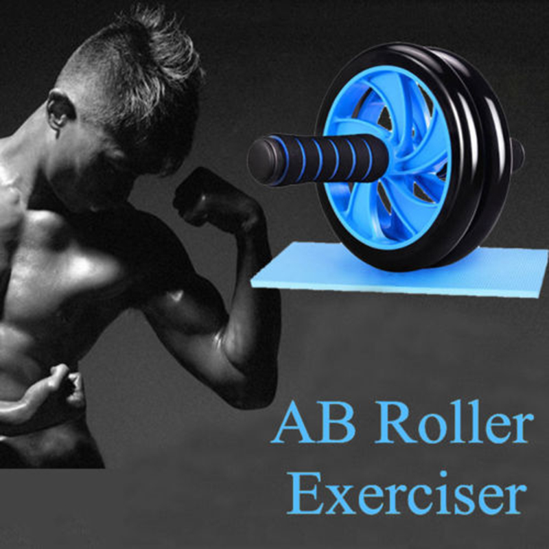 Double-Wheel Ab Abdominal wheel Sports No Noise coaster AB Roller Exercise Fitness training power Equipment Workout GYM with mat