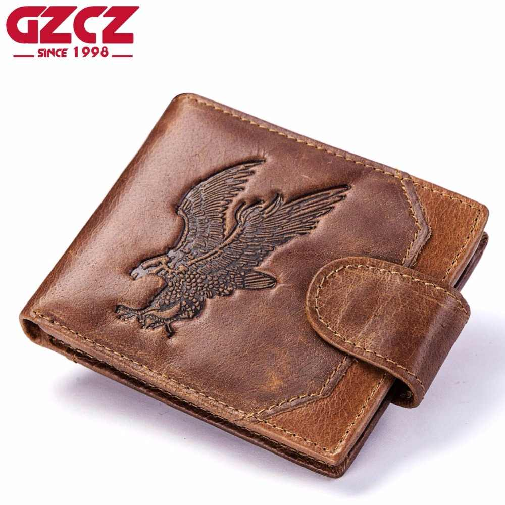 29afb852c520 GZCZ Men S Wallet Genuine Leather Vintage Printing Male Purse Short Bifold  Coin Purse PORTFOLIO MAN Cheap