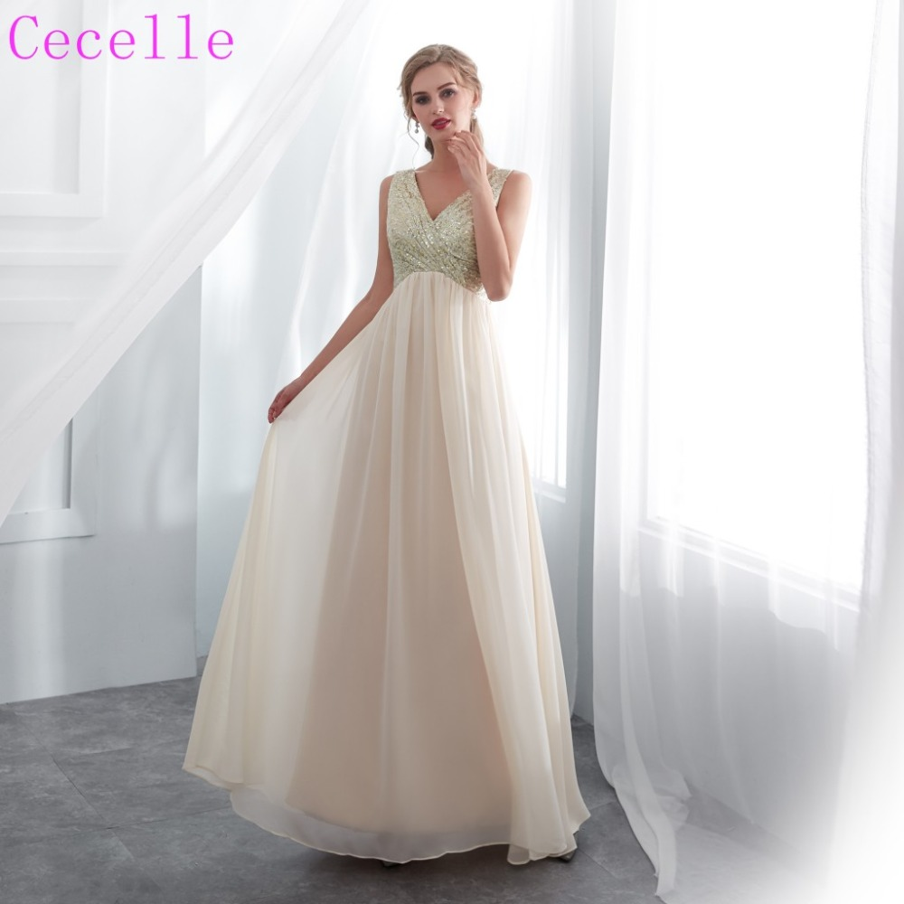 2019 New Arrival Champagne Long A-line   Bridesmaid     Dress   V Neck Sleeveless Sequins Chiffon Wed Party   Dress